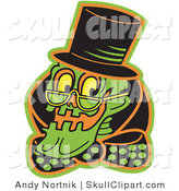 Vector Clip Art of a Grinning Human Skeleton Wearing a Top Hat, Glasses and a Bowtie by Andy Nortnik