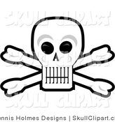 Vector Clip Art of a Grinning Human Skull and Crossbones with Black Eye Sockets by Dennis Holmes Designs