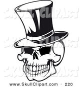 Vector Clip Art of a Grinning Skull with Top Hat Black and White by Vector Tradition SM