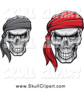 Vector Clip Art of a Grinning Skulls with Bandanas by Vector Tradition SM