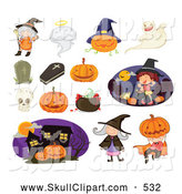 Vector Clip Art of a Group of Halloween Icons; Witches Trick or Treaters and Pumpkins, Coffins, Ghosts, Cemetary, Tombstone by Graphics RF