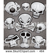 Vector Clip Art of a Group of Human Skulls and Cross Bones over Grungy Gray by John Schwegel