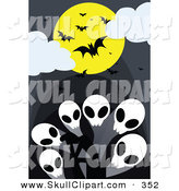 Vector Clip Art of a Group of Vampire Bats and a Full Moon over Skull Ghosts by Mayawizard101