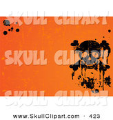 Vector Clip Art of a Grungy and Spooky Orange Halloween Background with Black Splatters and a Skull by Pushkin