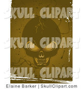 Vector Clip Art of a Grungy Brown Background of a Cracked Olive Skull, Barbed Wire and Splatters by Elaineitalia