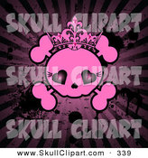 Vector Clip Art of a Grungy Pink Female Skull on a Dark Splattered Bursting Background by Pushkin