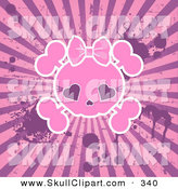 Vector Clip Art of a Grungy Pink Female Skull on a Splattered Bursting Background by Pushkin