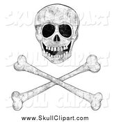 Vector Clip Art of a Grungy Skull over Crossbones by