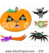 Vector Clip Art of a Halloween Carved Jack O Lantern Pumpkin, Bat, Spider, Candy, and Design Elements by Bpearth