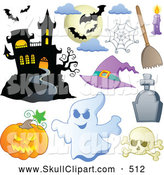 Vector Clip Art of a Halloween Haunted House Bats Spider Web Pumpkin Ghost Skull and Tombstone, on White by Visekart
