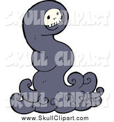 Vector Clip Art of a Halloween Skull Ghost by Lineartestpilot