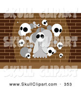 Vector Clip Art of a Hanging White Skull Ghost and Other Skulls Against a Brick Wall by Mayawizard101