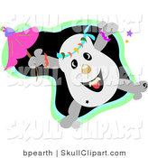 Vector Clip Art of a Happy Dancing Skull Character with a Pink Parasol, with Stars, over a Black and Green Background by