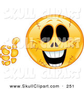 Vector Clip Art of a Happy Emoticon Face with Stitches, Holding a Thumb up by Yayayoyo