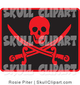 Vector Clip Art of a Happy Red Skull over Crossed Pirate Swords on Black by Rosie Piter
