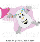 Vector Clip Art of a Happy Skull and Cross Bones Jumping with a Pink Umbrella by