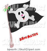 Vector Clip Art of a Happy Skull and Crossbones on a Black Pirate Flag with Ahoy Maties Text by