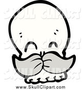 Vector Clip Art of a Happy Skull with a Mustache by Lineartestpilot