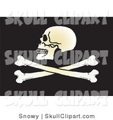Vector Clip Art of a Human Skull Facing Left Above Crossbones on Black by Snowy