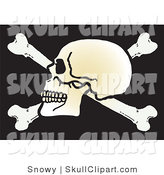 Vector Clip Art of a Human Skull Facing Left on Top of Crossbones on Black by Snowy