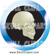 Vector Clip Art of a Human Skull on a Black and Blue Icon by Lal Perera