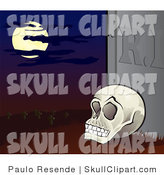 Vector Clip Art of a Human Skull Propped up Against a Tombstone in a Cemetery Under a Full Moon by Paulo Resende