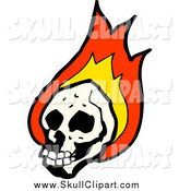 Vector Clip Art of a Human Skull with Fire by Lineartestpilot