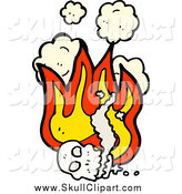 Vector Clip Art of a Human Skull with Flames and Smoke by Lineartestpilot