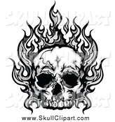 Vector Clip Art of a Human Skull with Gray Flames by Chromaco