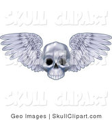 Vector Clip Art of a Human Skull with Open Feathered Wings by AtStockIllustration