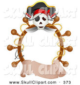 Vector Clip Art of a Jolly Roger and Helm Border with a Blank Scroll Banner by BNP Design Studio