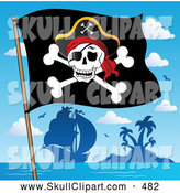Vector Clip Art of a Jolly Roger Pirate Flag and Ship by an Island by Visekart