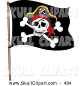 Vector Clip Art of a Jolly Roger Pirate Flag with a Grinning Skull by Visekart