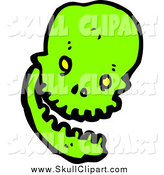 Vector Clip Art of a Laughing Green Skull by Lineartestpilot