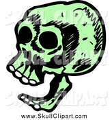 Vector Clip Art of a Laughing Green Skull from the Side by Lineartestpilot