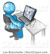 Vector Clip Art of a Light Blue Medical Doctor Man Sitting at a Computer and Viewing an Xray of a Head by Leo Blanchette