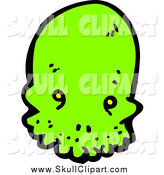Vector Clip Art of a Lime Green Alien Skull by Lineartestpilot
