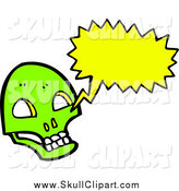 Vector Clip Art of a Lime Green Skull with a Conversation Bubble by Lineartestpilot
