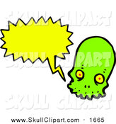 Vector Clip Art of a Line Green Skull with a Conversation Bubble by Lineartestpilot