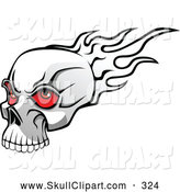 Vector Clip Art of a Mean Flaming Skull with Red Eyeballs by Vector Tradition SM