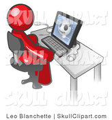 Vector Clip Art of a Medical Red Doctor Man Sitting at a Computer and Viewing an Xray of a Head by Leo Blanchette