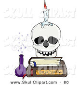 Vector Clip Art of a Melting Candle on a Skull Resting on a Stack of BooksMelting Candle on a Skull Resting on a Stack of Books by Pams Clipart