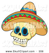 Vector Clip Art of a Mexican Skull Wearing a Sombrero Hat by Visekart