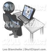 Vector Clip Art of a Navy Blue Medical Doctor Man Sitting at a Computer and Viewing an Xray of a Head by Leo Blanchette