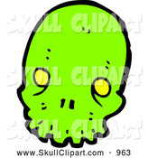 Vector Clip Art of a Neon Green Alien Skull by Lineartestpilot