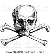Vector Clip Art of a Old Fashioned Retro Vintage Black and White Skull and Crossbones by Prawny Vintage