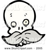 Vector Clip Art of a One Eyed Skull with a Mustache by Lineartestpilot