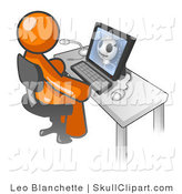 Vector Clip Art of a Orange Doctor Man Sitting at a Computer and Viewing an Xray of a Patient's Head by Leo Blanchette