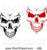 Vector Clip Art of a Pair of Evil Black and White and Red Skulls by Vector Tradition SM