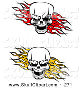 Vector Clip Art of a Pair of Evil Skulls over Red and Yellow Flames by Vector Tradition SM